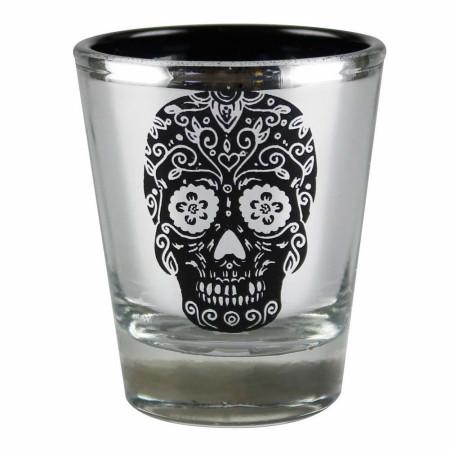 Day Of The Head Sugar Skull Metallic Shot Glass