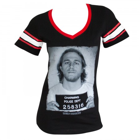 Sons Of Anarchy Women's Black Striped Sleeve Group Mug Shot T-Shirt