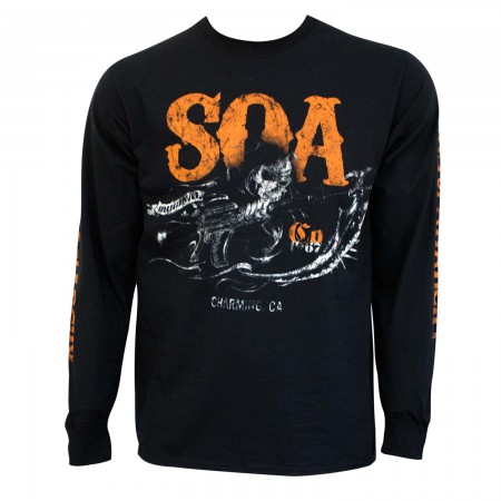Sons Of Anarchy Men's Black Charging Reaper Long Sleeve Shirt
