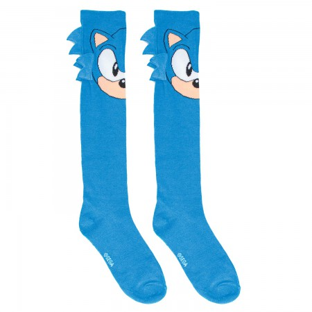 Sonic Face Blue Knee High Costume Socks