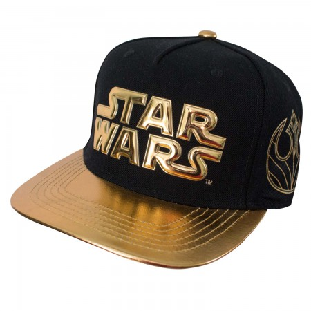 Star Wars Gold Logo Metallic Brim Men's Black Cap