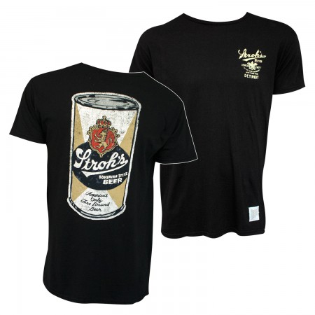 Stroh's Beer Can Retro Brand Men's Black T-Shirt