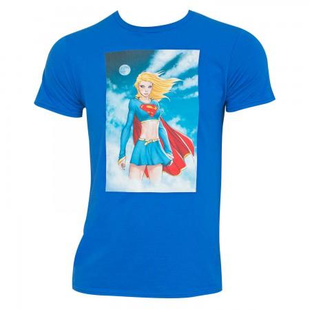 Supergirl Men's Blue Comic Panel T-Shirt