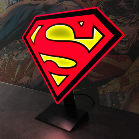 Superman Symbol Illuminated Table Lamp Or Mountable Wall Art With Dimmer