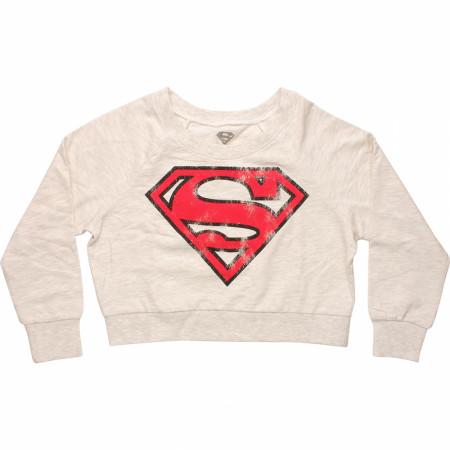 DC Comics Superman and Supergirl Symbol Crop Top Sweater