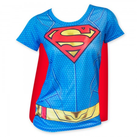 Superman Women's Sublimated Cape Costume Tee Shirt