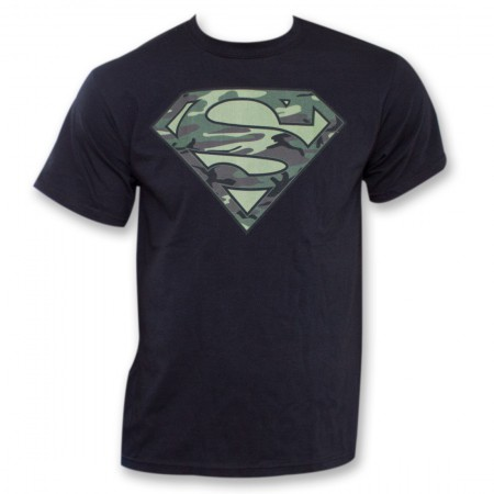 Superman Camo Logo Black T-Shirt