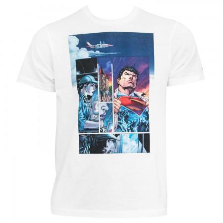 Superman Men's White Comic Panel T-Shirt