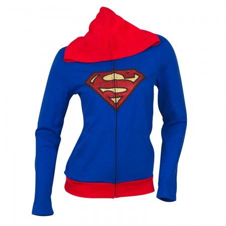 Superman Supergirl Women's Blue Caped Costume Hoodie