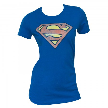 Superman Distressed Logo Blue Juniors Graphic T-Shirt