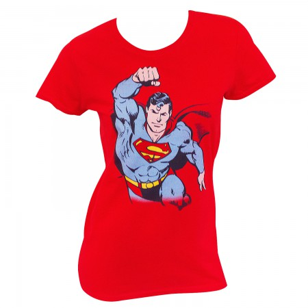 Superman Women's Red In Flight T-Shirt
