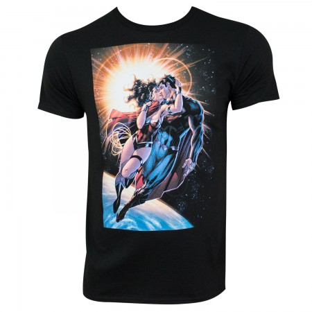 Superman & Wonder Woman Men's Black Smooch T-Shirt