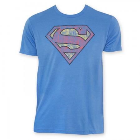 Superman Blue Vintage Logo Premium T-Shirt