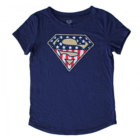 Superman Youth Girls Navy Blue American Flag Glitter Logo T-Shirt