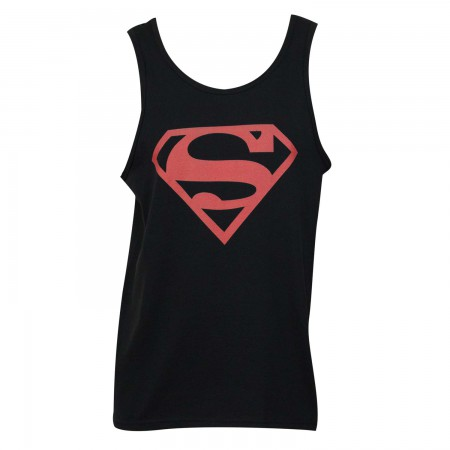 Superman Men's Black Tank Top With Red Logo
