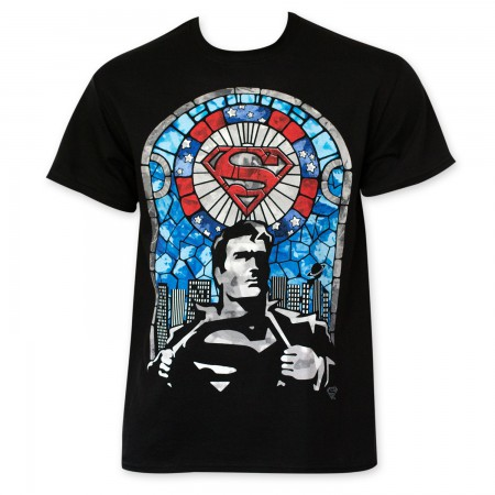 Superman Men's Black Stained Glass T-Shirt