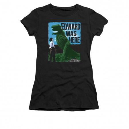 Edward Scissorhands Was Here Juniors Black T-Shirt