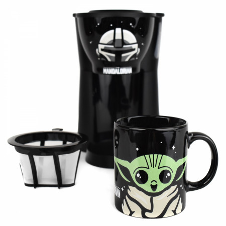 Star Wars The Mandolorian Inline Single Cup Coffee Maker with Mug