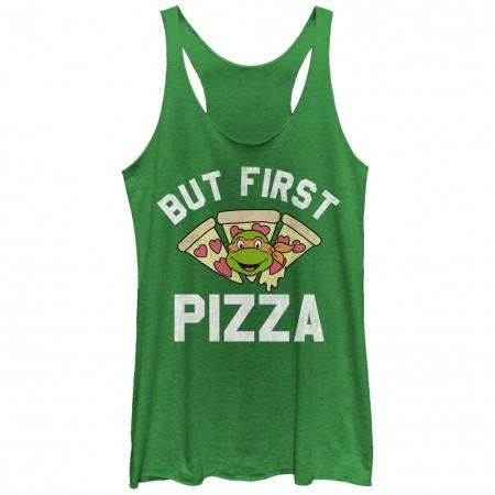 Teenage Mutant Ninja Turtles Pizza First Green Juniors Tank Top