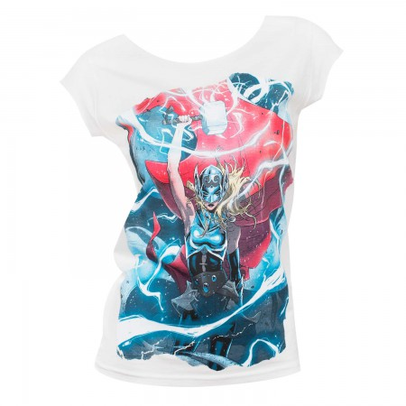Female Thor Comic Electricity Womens White Shirt