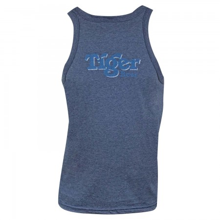 Tiger Beer Distressed Logo Denim Blue Tank Top
