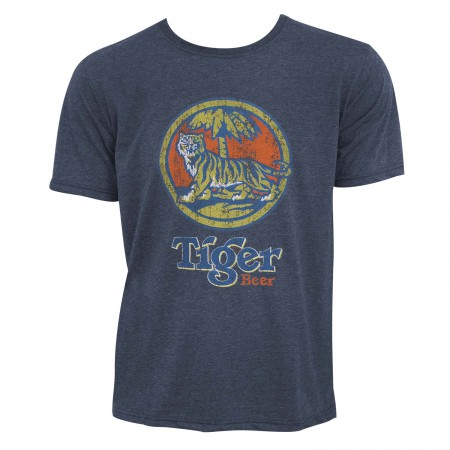 Tiger Beer Men's Denim Blue Distressed Logo T-Shirt