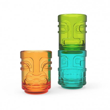 Tiki Trio Multi-Color Shot Glass Set