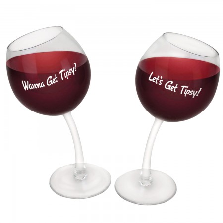 Let's Get Tipsy Two-Pack Wine Glasses