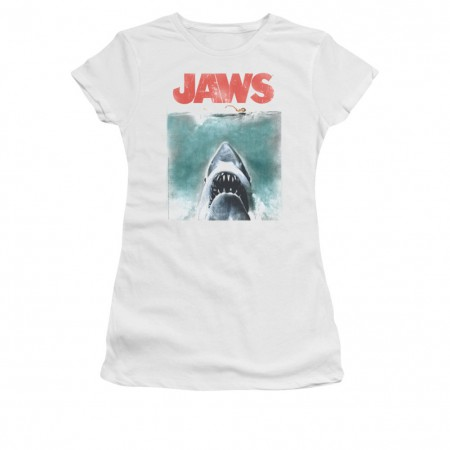 Jaws Vintage Poster White Juniors T-Shirt