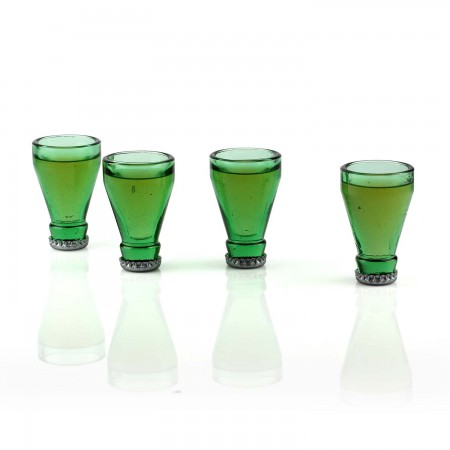 Top Shots Green Glass Shot Glass Set