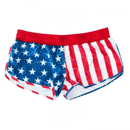 USA Women's Patriotic Distressed Beach Shorts