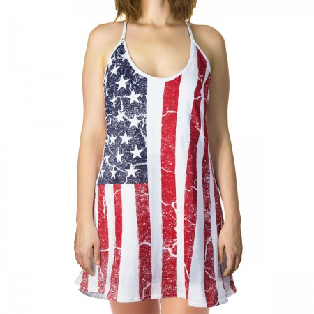 Patriotic American Flag Women's Tank Top Dress