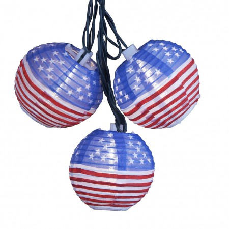 American Flag Lantern String Lights