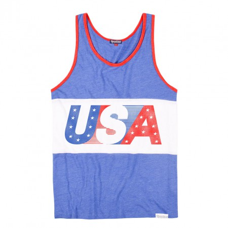 USA Men's Blue Patriotic Tank Top