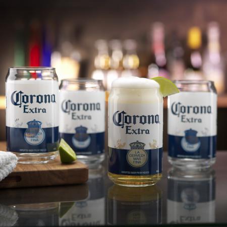 Corona Extra Can Design 4-Pack Pint Glass Set