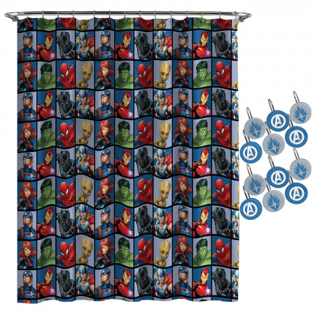 Avengers Team Shower Curtain and Hook Set