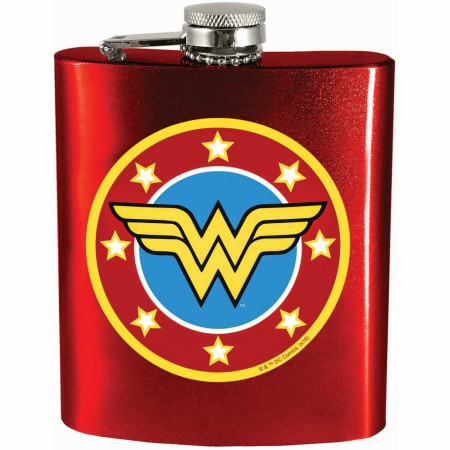 Wonder Woman Symbol Red 12 Ounce Flask