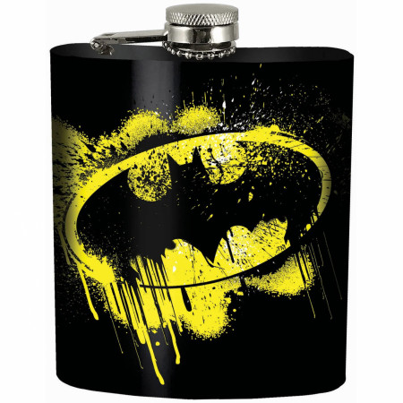 Batman Splatter Symbol Black Flask