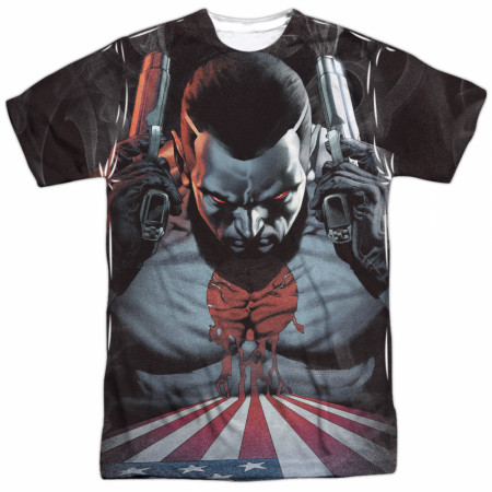 Bloodshot World on Fire Front and Back Print T-Shirt