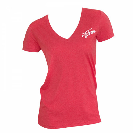 Victoria Slim Women's Red V Neck T-Shirt