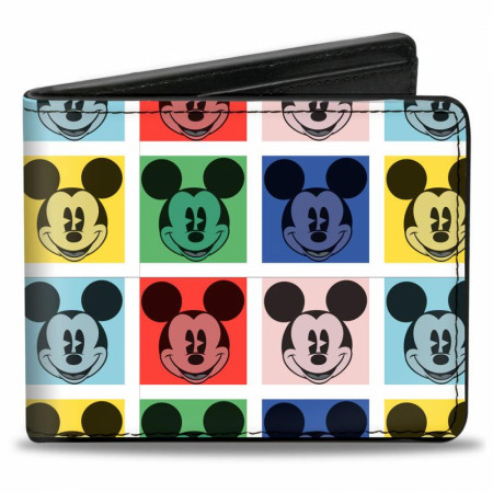 Mickey Mouse Disney Face Blocks Bi Fold Wallet