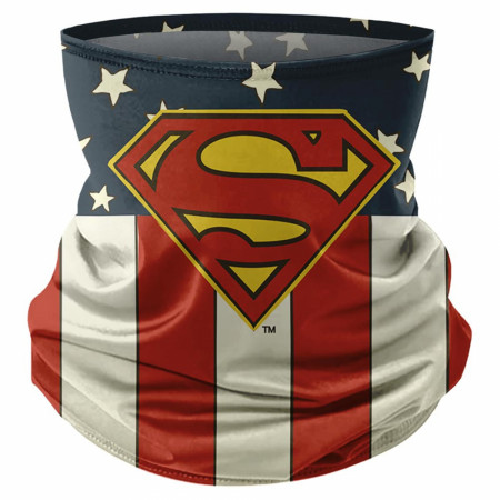 Superman Classic Symbol and Flag Print Face Mask Gaiter