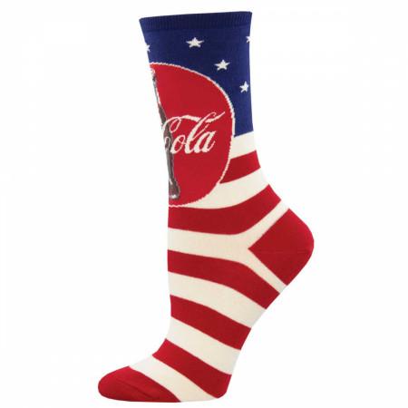 Coke-Cola Red White & Blue Classic Logo Women's Socks