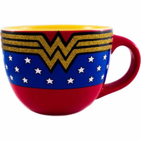 Wonder Woman Glitter Logo 24 oz Soup Mug