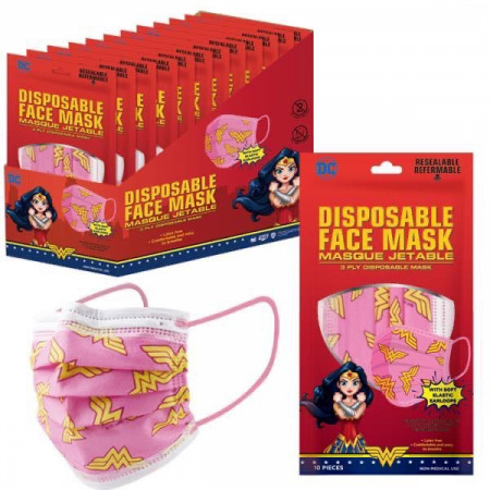 Wonder Woman Symbol All Over 10-Pack of Disposable Youth Face Masks