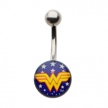 Wonder Woman Blue Logo Navel Belly Button Ring