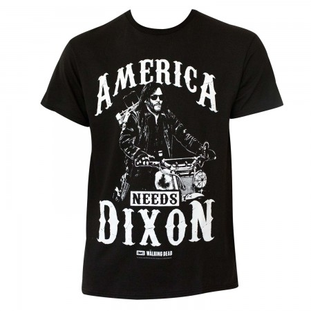 Walking Dead Men's Black America Needs Dixon T-Shirt