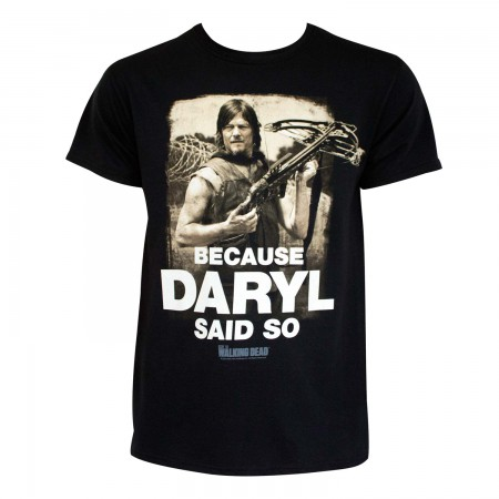 Walking Dead Men's Black Daryl Said So T-Shirt