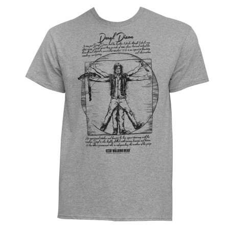 Walking Dead Men's Grey Vitruvian Daryl Dixon T-Shirt