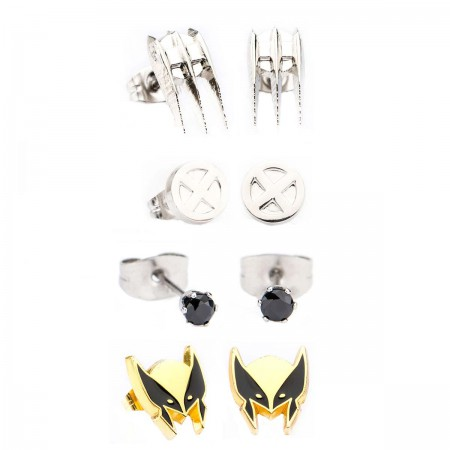Wolverine Superhero Earrings 4-Pack